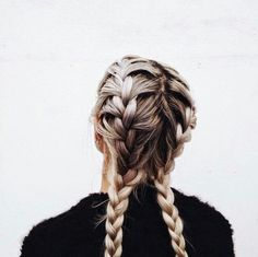 bleach blonde braids//