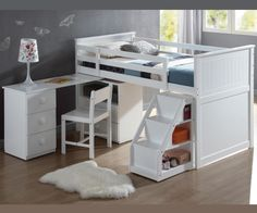 WYATT TWIN LOFT BED WITH DESK AND LADDER BOOKCASE- Furniture Liquidation