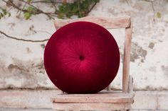 Burgundy velvet round pillow 16 by fulyad on Etsy