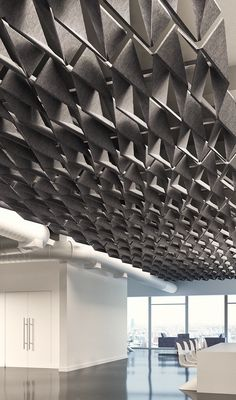 Arktura SoftFold® acoustical ceiling system, Architectural Record's 2016 Record Products Best in Category Winner, Finishes and Surfacing. The complex interaction of variables lends power to design. Using our Soft Sound® acoustical material (100% PET plastic with up to 50% recycled content) and dimensional patterning, SoftFold® achieves acoustical dampening while creating a subtle play between light and shadow. Click the image to learn more.