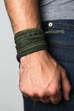 Wrap Bracelet - Green with Black Print
