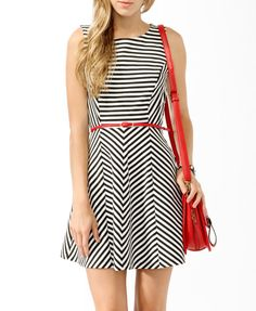 Striped Skater Dress w/ Belt | FOREVER21 - 2017307202 http://www.forever21.com/Product/Product.aspx?br=F21=dress=2017307202#