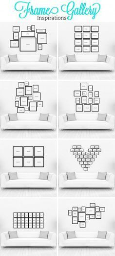 Great ideas for hanging pictures above the couch! You could even add in framed scriptures, quotes, monograms, etc.