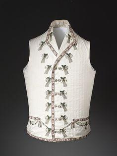 WaistcoatEngland | 1790-1800Embroidered cotton dimity (!) | LACMA