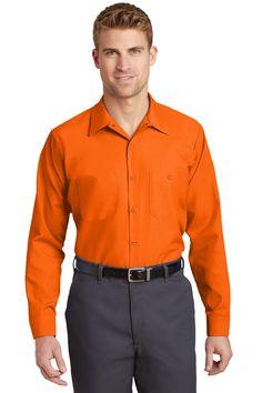 Red Kap Long Size, Long Sleeve Industrial Work Shirt. SP14LONG Orange