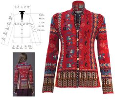 IVKO Woman Palladian Jacquard Jacket with Side Panels Style 62511 in Cherry Tomato Red 046