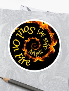 'Music Sets My Soul On Fire' Sticker by Roanemermaid Arts And Crafts For Teens, Buy Music, Soul On Fire, Laptop Stickers, Sticker Design, Decorative Stickers, Symbols, Pattern, Prints