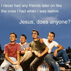 "Gordie Lachance (Will Wheaton) Vern Tessio (Jerry O'Connell) Teddy Duchamp (Corey Feldman) Chris Chambers (River Phoenix) in the movie 'Stand By Me."" Movie is from a short story by Stephen King. Great story that made an even better movie. 80s Movies, Good Movies, Movie Tv, 80s Movie Quotes, Cinema Quotes, 80s Songs, Greatest Movies, Movie Posters, Friends Come And Go"