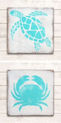 Turtle and crab painted wood signs with a distressed, rustic look. Each sign is a square. Perfect together or on their own to add a touch of beach/coastal design to your space. Coastal Bedrooms, Coastal Living Rooms, Coastal Cottage, Coastal Style, Coastal Decor, Coastal Entryway, Coastal Interior, Coastal Rugs, Seaside Decor