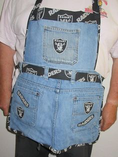 Jeans Up-cycled into Denim Apron with RAIDERS Football Printed Cotton Fabric Lining Sewing Aprons, Denim Aprons, Denim Crafts, Jean Crafts, Jeans Denim, Black Jeans, Jean Apron, Cobbler Aprons, Towel Dress