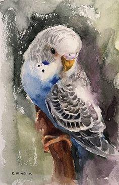 Daily Paintworks - - Original Fine Art for Sale - © Katya Minkina Watercolor Bird, Watercolor Animals, Watercolor Paintings, Watercolors, Bird Drawings, Animal Drawings, Drawing Birds, Animal Paintings, Bird Paintings