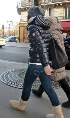 Black Moncler 'Bady' down jacket Raincoats For Women, Jackets For Women, Fall Fashion Trends, Winter Fashion, Nylons, Down Puffer Coat, Puffy Jacket, Oversized Coat, Moda Fitness