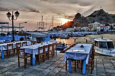 Dinner time - at Myrina the capital of Limnos island in north Aegean sea - Greece Samos, Future Travel, Greece Travel, Crete, Greek Islands, The Great Outdoors, Night Life, Places To Go, West Side