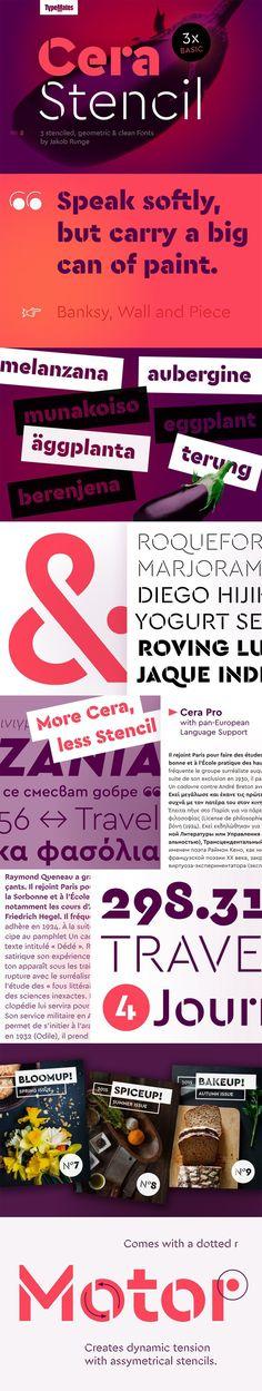 Cera Stencil Basic Family. Fonts. $42.00