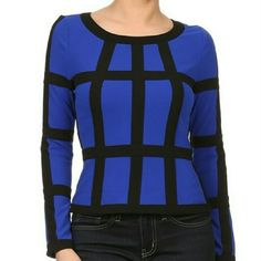 Window Pane Top Royal blue window pane blouse with zip back Tops Blouses