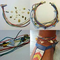 couleurs  Base : Cordon cirés  Habillage : perles à écraser, tubes, breloques  8 coquillages et galets selon la demande de la cliente, laissés à l'inspirtation dont nous débordons.