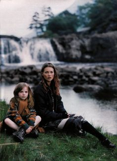 Kate Moss, against the waterfalls.