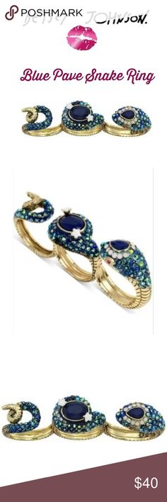 Betsey Johnson Blue Pave Multi-finger Snake Ring Dress up your digits in this sleek ring from Betsey Johnson. Ring features a coiling snake silhouette with faceted crystal embellishment. Gold-tone finish.Measurements: Face Height : 1.3 in ; Face Width : 2.13 in ; Face Length : 7.2 in ; Weight: 0.6 oz.  Brand new, giftable!  Non-smoking home, pet free zone.  Gorgeous gift for a Betsey enthusiast or collector or anyon who appreciates beautiful, unique jewelry. Betsey Johnson Jewelry Rings