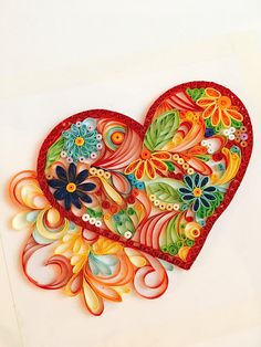 Quilled Paper Art:Floral HeartValentine
