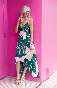 Pink Palm Print Dress - Mckenna Bleu