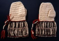 Nalbound mittens, Joutseno, South Carelia, Finland. Prior to 1875. Length 29.5 cm, width 8-18 cm.