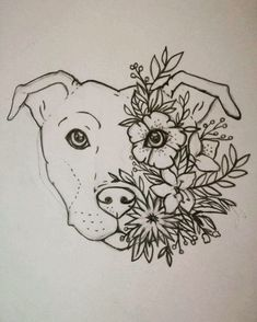 Turn this into a lotus tattoo! Staffy tattoo Staffordshire bull terrier Floral Flower tattoo Women Tattoo design & Model for this into a lotus tattoo! Tattoo Pitbull, Dog Tattoos, Tattoo Drawings, Body Art Tattoos, Art Drawings, Cat And Dog Tattoo, Tatoos, Corgi Tattoo, Doberman Tattoo