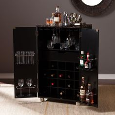 Adaline Contemporary Bar Cabinet in Black, Painted Black Finish With Marbleized Countertop