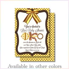 Personalized Printable Invitations | Rattle and Polka Dots | Baby Shower