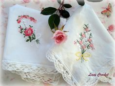 handkerchiefs with lace +diagram instructions