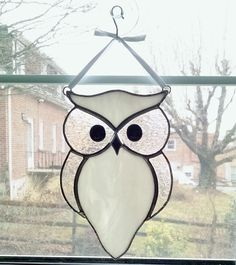 Stained Glass Owl Suncatcher - Bird - Snow Owl - Owl Ornament - Nature Decor - White Glass Owl - Housewarming Gift - Wedding Gift by StainedGlassYourWay on Etsy