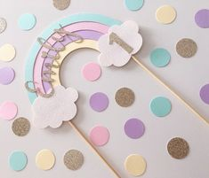 Rainbow Party Decorations, Rainbow Parties, Rainbow Theme, Birthday Party Decorations, Rainbow First Birthday, Girl First Birthday, Unicorn Birthday Parties, Unicorn Party, Diy Cake Topper