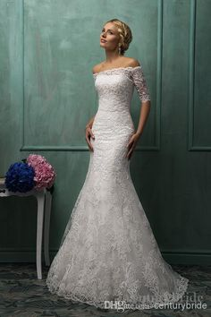 Wholesale 2014 Vintage Wedding dress Long Sheath Off shoulder Lace Half Sleeves Plus size Bridal Gowns Custom made Amelia Sposa, Free shipping, $169.64/Piece | DHgate Mobile