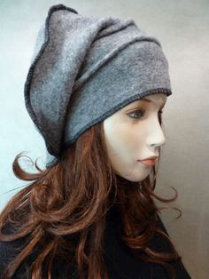 Unique lagenlook casual style slouchy chic grey hat NEW Headdress, Headpiece, Fleece Hats, Grey Hat, Old Sweater, Clothes Crafts, Felt Hat, Look Cool, Refashion