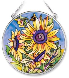 481c180fec6c Amazon.com  Amia Handpainted Glass Sunflower Suncatcher