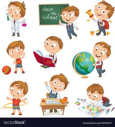 back to school. cute schoolchild at a lesson of geography literature physical education biology botany chemistry drawing. young boy raising his hand in school. wrote in chalk on blackboard Cat Vector, Vector Free, Vector Stock, Art School, Back To School, School Ideas, High School, School Vector, Kid Character