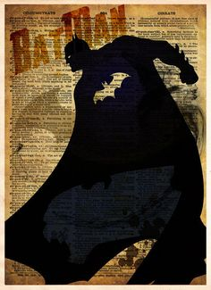 Bat man inspired art print. Awesome vintage look These unique and original artwork are printed on authentic vintage early 1900's dictionary paper from books i have rescued from booksellers who decided