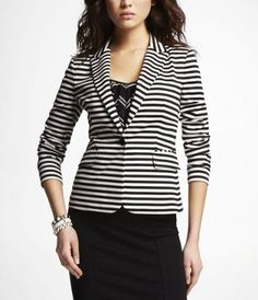 STRIPED PONTE KNIT ONE-BUTTON JACKET at Express