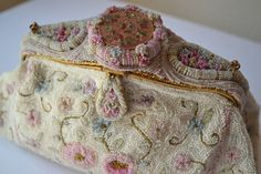 Antique French Vintage Floral Hand Beaded Purse Handbag with Enamel Button