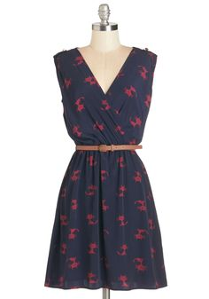 Ride Here, Right Now Dress in Cats - Blue, Red, Print with Animals, Casual, Quirky, Cats, Critters, A-line, Sleeveless, Woven, Print, Mid-length, Belted