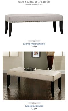 COPY CAT CHIC FIND: Crate and Barrel Colette Bench VS Overstock Camden Bench