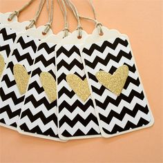 Black and White Chevron gift tags with Gold Glitter Hearts - Set of 6