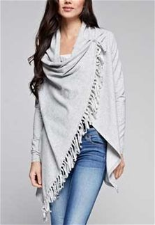 Love+Stitch+Clothing+Fringed+Shawl+Sweater+with+Button+in+Speckled+French+Terry+I-10837-HTRGREY