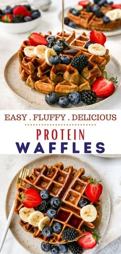 Finally low carb protein waffles that are fluffy and delicious! Get a whopping 22g of protein from these healthy, low carb, irresistible Protein Waffles. Learn how to make protein waffles and the best protein powder to use. They're so EASY! This low carb high protein waffle recipe is just 5 ingredients (can use pumpkin or banana) and ready in less than 10 minutes! The perfect recipe to meal prep for busy mornings! Keto approved! #lowcarb #lowcarbrecipes #breakfast #waffles