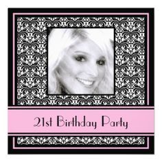 21st #Birthday Party #Invitations #Damask Pink from Sublime Stationery. @Auntie Shoe thinks they are very nice!