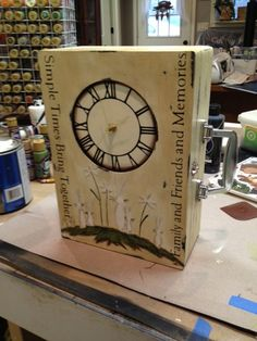 Clock Handmade Painted White Primitive by JackieEdwardscrafts, $42.50