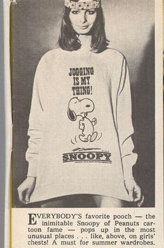 Vintage Snoopy Sweatshirt Photo from 1970. The caption made me laugh!