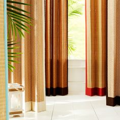 Bamboo Metallic Brown Grommet Panel   Pier 1 Imports