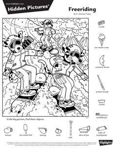 Hidden Object Puzzles, Hidden Picture Puzzles, Hidden Objects, Find Objects, Hidden Pictures Printables, Highlights Hidden Pictures, Hidden Words, Activity Sheets, Winter Pictures