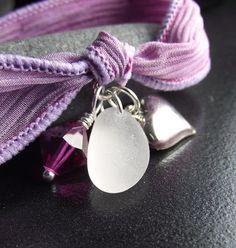 Sea Glass Jewelry   Silk Ribbon Wrap Charm  by SeaFindDesigns, $30.00