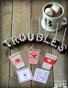 Hot chocolate on a stick recipe. Melt your troubles away. Cute gift idea.
